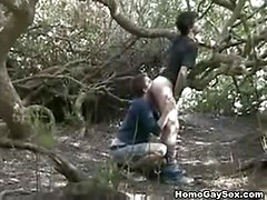 Young amateur gay sex under the tree
