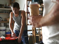 Evan Parker takes Caleb into his workshop and teaches the naive teen exactly what to do with a stiff board