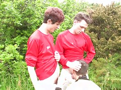 Two double-penetrations for the price of one, as three soccer boys fuck & suck off-pitch! HD