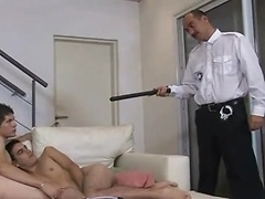 Horny gay oldie makes a police raid on boy asses