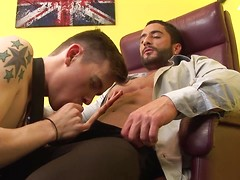 Interrupting the boss gets this horny twink the hard hitting fuck his useless ass deserves