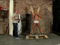 Dirty slave boy Kenzie gets the full treatment from cum draining Sebastian