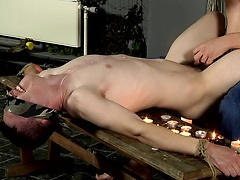 Covered in hot wax and wanked to the limit, restrained Matt cums hard!