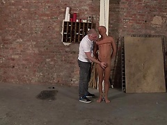 Innocent twink Kenzie gets his shaved cock wanked and sucked while trapped