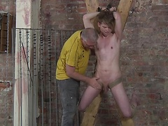 Master Sebastian is back to stroke a hot load of cum from twink boy Leo!