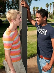 Hot interracial coupling of two sexy studs