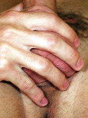 Eager boy munching on a meaty sausage before anal