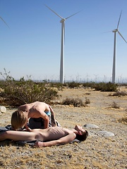 Hairless blond boy Derrick goes out to the desert with well hung young stud Blake Carnage - Gay boys pics at Twinkest.com