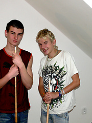 Duo teen boys Arpad and Zoltan play snooker nude