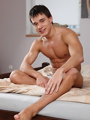 Oleg has a nicely muscled body and a thick cock with plenty of foreskin