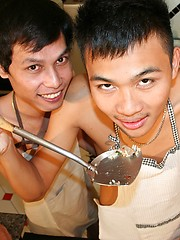 Asian gay boys have anal fun on the kitchen