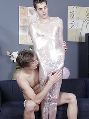 Wrapped in cling film and hard fucked - Gay boys pics at Twinkest.com