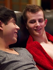 Sexy boys Jasper Robinson and Jamie Sanders are cuddling on the couch when one thing leads to another