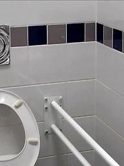 Jerking off in public wc