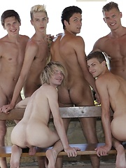 6 Horny Twinks & Studs Dish Up A Spunktastic Bareback Poolside Orgy! - Gay boys pics at Twinkest.com