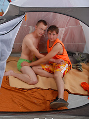 This twink pair of campers are most definitely horned up and ready to fuck