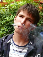 Smoking boy Aidan in the bar - Gay boys pics at Twinkest.com