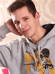 Michael House stroking his small hard cock.