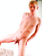 Blonde gay boy Turner has nice uncut dick