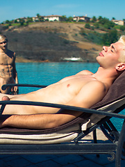 horse-cocked Russian boy Dalton Briggs lounging butt-naked by the pool with Max Carter - Gay boys pics at Twinkest.com